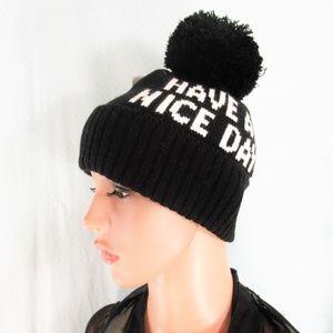 Kate Spade  Knit 'Have A Nice Day' Knit Pom Pom Hat